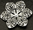 43mm Silver Coloured Brass Filigree Flower
