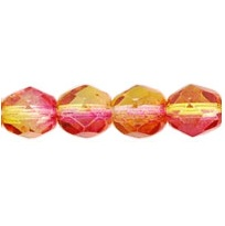 25 pack 6 mm Fire Polished Dual Coated Fuchsia/Lemon 48001