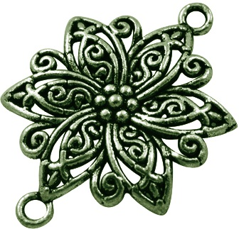 Flower Link 1 Antique Bronze Colour Lead and Nickel Free