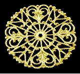 31mm Gold Coloured Brass Filigree Circle