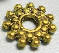 G15 Antique Gold Snowflake Spacer Bead 50 pack