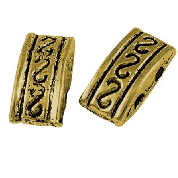 Tibetan 2 hole gold spacer bead 36 pack GLNF43