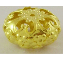 GNF04 23mm Gold Nickel Free Flat Round Filigree Bead 13 pack
