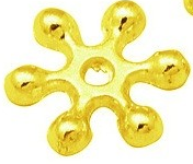 GZNF62 8mm Nickel Free Gold Snowflake Spacer 50 pack
