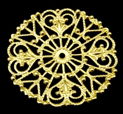 31mm Gold Colour Brass Filigree Circle