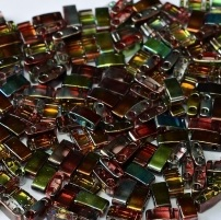 5 gram 5mm 2 hole Half Tila Beads Crystal Magic Wine TLH4573