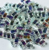 5 gram 5mm 2 hole Half Tila Beads Crystal Blue Rainbow TLH55025