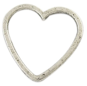 Heart Shape Antique Silver 24mm Lead Free Heart