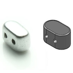 10 grams Ios 2 hole beads Aluminium Matte 00030 01700