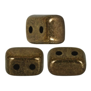 10 grams Ios 2 hole beads Dark Gold Bronze 23980 14485