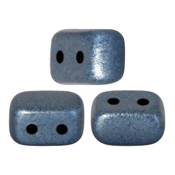 10 grams Ios 2 hole beads Metallic Matte Blue 23980 79031