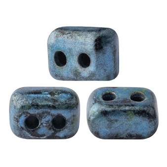10 grams Ios 2 hole bead Metallic Matte Blue Spotted 23980 65325