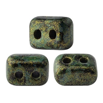 10 grams Ios 2 hole bead Metallic Mat Green Spotted 23980 65326