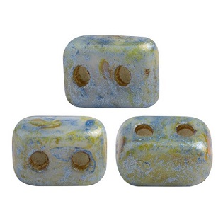 10 grams Ios 2 hole beads Opaque Blue/Green Spotted 02010 65325