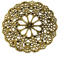Antique Gold Lead and Nickel Free 47 mm Large Gold Flower Disc