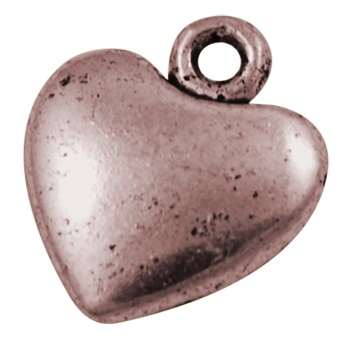 16mm Copper Large Flat Heart Charm Lead and Nickel Free