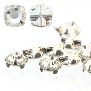 10 pack 3.5mm Silver Plated Crystal Rose Montees
