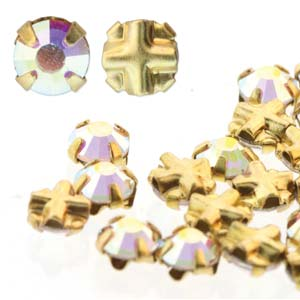 10 pack 3mm Gold Plated Crystal AB Rose Montees