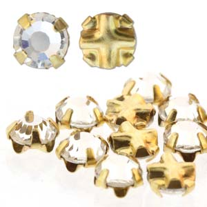 10 pack 3mm Gold Plated Crystal Rose Montees