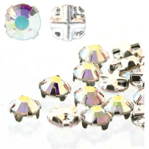 10 pack 4mm Silver Plated Crystal AB Rose Montees
