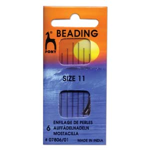 6 Pack Size 11 Long Pony Beading Needles with threader