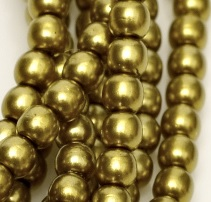 50 Pack 4mm Czech Glass Pearls Old Green Gold 10079