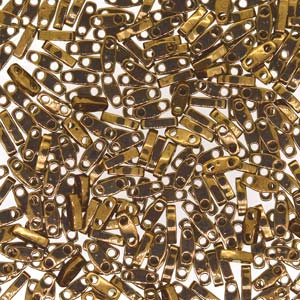 5 grams 2 hole Quarter Tila Beads Bronze Metallic QTL457