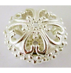 S10 23mm Silver Flat Round Filigree Bead 13 pack