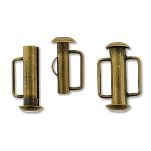 16.5 mm Antique Bronze Slide Bar Clasp