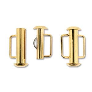 16.5 mm Gold Plated Slide Bar Clasp