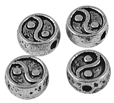 SLNF02 Antique Silver Lead and Nickel Free Yin-yang 25 pack