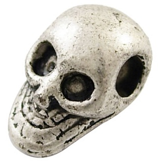 10.5mm Antique Silver Skull Number 1