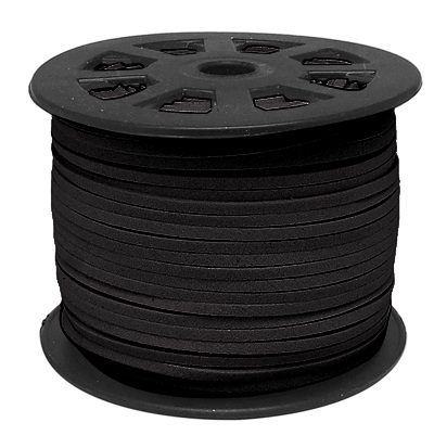 3 mm diameter Faux Suede Cord in black. Price per metre