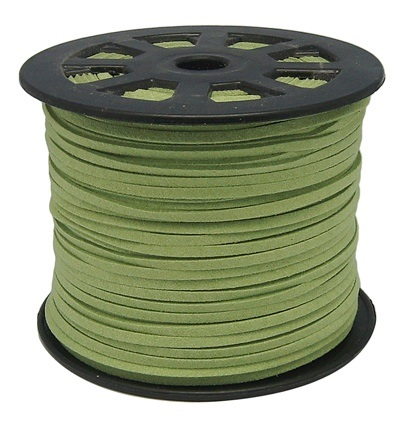 3 mm diameter Faux Suede Cord in light green. Price per metre