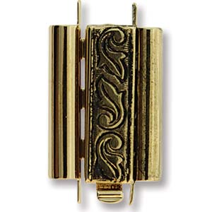 10 x 18 mm Swirl Design Beadslide Clasp Antique Gold