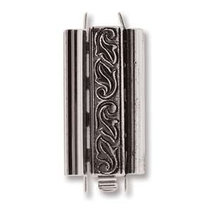 10 x 18 mm Swirl Design Beadslide Clasp Antique Silver