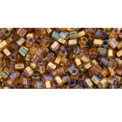 10g TOHO size 11 Triangles Gold Lined Topaz TG-11-278