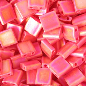 5 grams 5mm 2 hole Tila Beads Matte Opaque Red AB 408FR