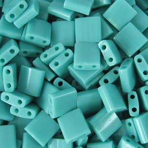 5 grams 5mm 2 hole Tila Beads Opaque Turquoise Green 412