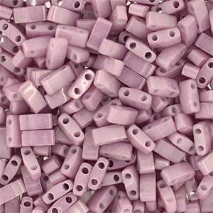 5 grams 5mm 2 hole Half Tila Beads Antique Rose Lustre TLH599