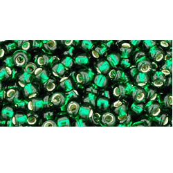 10g TOHO size 11 Silver Lined Green Emerald TR-11-36