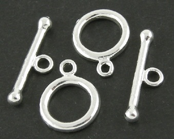 TS02 11mm Silver Plated Toggle Clasp 2 pack