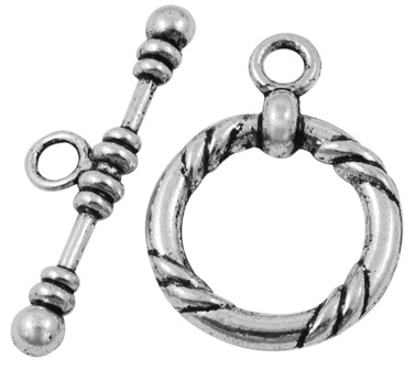 TSLNF12 21mm A Silver Lead and Nickel Free Toggle Clasp 2 pack