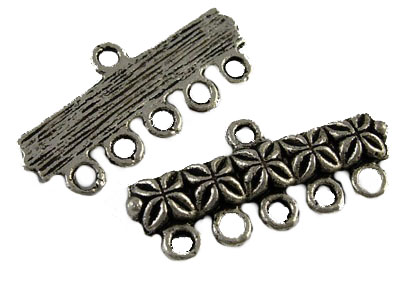Tibetan 6 Hole Woven Style Silver Colour Spacer Bar