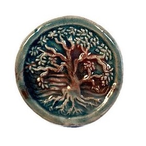Peruvian Bead - Raku Glazed Tree of Life Bead