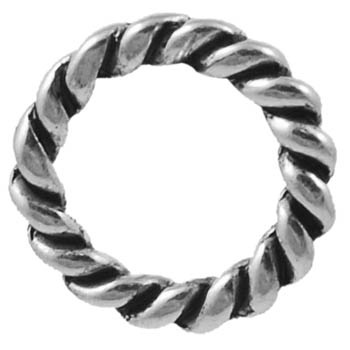 Twisted Circle Link 1 A Silver Colour 19mm Nickel Free Ring