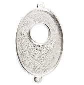25x38mm .999 S Silver Plated Patera Double Loop Toggle Oval