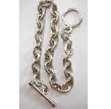 .999 A. Silver Plated 7.5 inch Patera Heavy Plain Link Chain