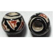 Peruvian Hand Painted Ceramic Bead - Ball 01