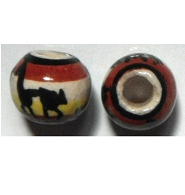 Peruvian Hand Painted Ceramic Bead - Ball 02